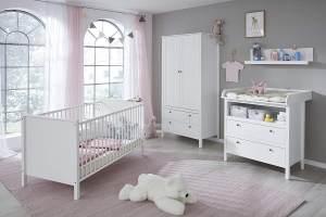 Trendteam 'Ole' 4-tlg. Babyzimmer-Set weiß, inkl. Bett, Wickelkommode, Kleiderschrank und Wandregal