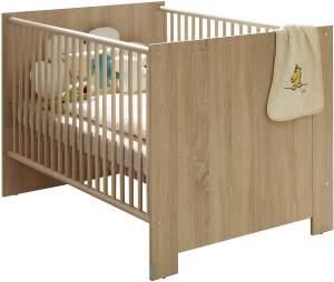 trendteam smart living Babyzimmer Babybett Kinderbett Olivia, 143 x 83 x 78 cm Eiche Sägerau hell mit dreifach höhenverstellbarem Lattenrahmen und drei herausnehmbaren Schlupfsprossen
