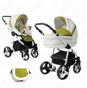 Bebebi Fizzy | Luftreifen in Weiß | 2 in 1 Kombi Kinderwagen | Hartgummireifen | Farbe: Avocado