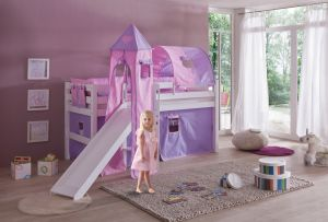 Reltia Spielbett 'Eliyas' mit Rutsche und Textilset Vorhang, 1-er Tunnel, Turm und Tasche purple/rosa/Herz