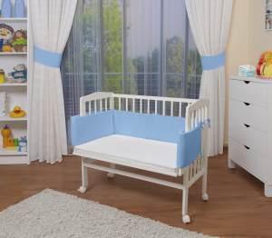 WALDIN Beistellbett mit Matratze, höhenverstellbar, Große Liegefläche, Ausstattung blau, Gestell Weiß lackiert
