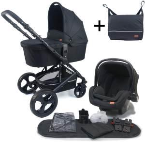 Pixini 'Kalani' Kombikinderwagen 4plusin1 Schwarz mit Tragewanne und Babyschale