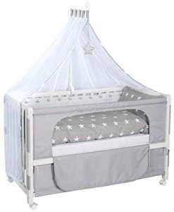 Roba 'Room Bed' Beistellbett weiß, inkl. Ausstattung 'Little Stars', 6-fach höhenverstellbar