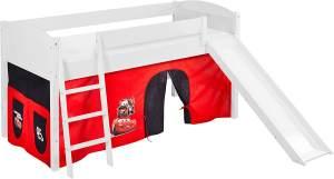 Lilokids 'Ida 4106' Spielbett 90 x 200 cm, Disney Cars, Kiefer massiv, mit Rutsche und Vorhang