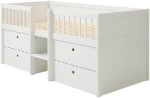 FLEXA 'Freja' Stauraumbett 90x200 cm, Weiß, inkl. Lattenrost mit 2 Schubladen und 2 Spielzeugboxen