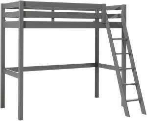 Vipack Hochbett grau, 90 x 200 cm, grau lackiert