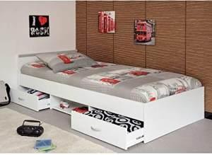 PARISOT 'Mega' Funktionsbett weiß, 90x200 cm, inkl. Schubladen, Lattenrost und Matratze