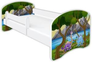 Clamaro 'Schlummerland Dinosaurier' Kinderbett 80x160 cm, Design 1, inkl. Lattenrost, Matratze und Rausfallschutz (ohne Schublade)