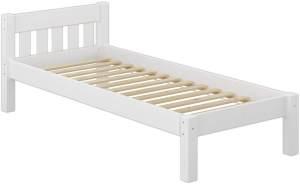Erst-Holz Einzelbett Kiefer weiß inkl. Rollrost 80x200