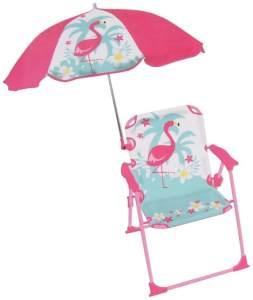 Gartenstuhl mit Sonnenschirm Flamingo 39x39x53 cm rosa/mint