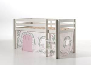 Vipack 'Pino' Spielbett weiß mit Vorhang 'Birdy'