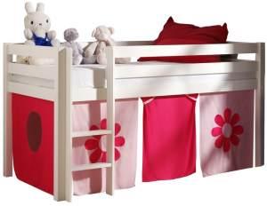 Pino Halbhochbett Weiß lackiert 90x200 cm Rosa-Flower Soft