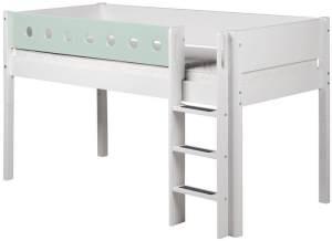 Flexa 'White' Halbhochbett weiß/mint, gerade Leiter, 90x200cm