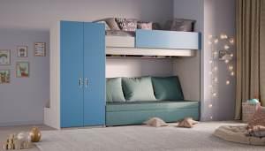 Hochbett mit Schlafsofa und Kleiderschrank, blau