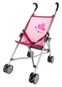 Besttoy - Puppenbuggy - rosa/ bordeaux mit Herzmotiv