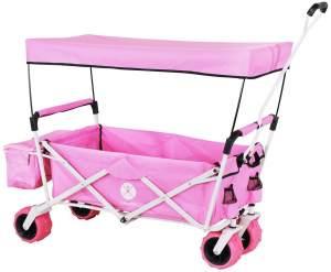 Miweba 'MB-10' Bollerwagen, Pink, inkl. Sonnendach, Hecktasche und Feststellbremse, klappbar