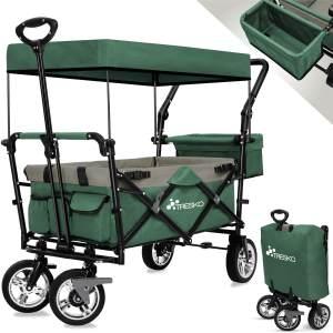 TRESKO Bollerwagen in Grün, faltbar inkl. Sonnendacht, max. Belastbarkeit 80 kg