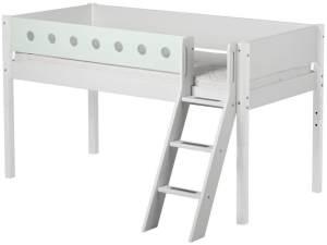 Flexa 'White' Halbhochbett weiß/mint, schräge Leiter, 90x200cm