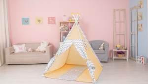 Polini Kids Tipi Spielzelt für Kinder Baumwolle mit Tasche gelb