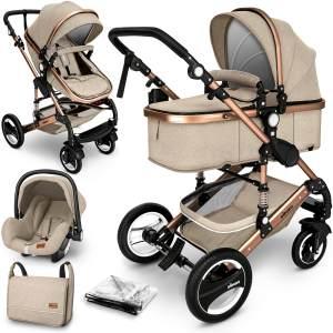 KIDUKU Kombikinderwagen 4plusin1 Beige/Gold inkl. Sitz, Babywanne, Babyschale Beige, Wickeltasche, Wetterschutz