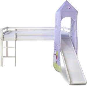Hochbett Kinderbett 90x200 Weiß Rutsche Turm Spielbett Jugendbett Holz