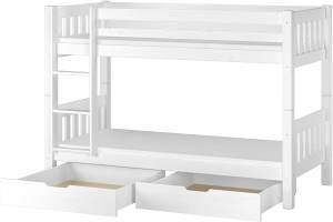 Erst-Holz 60.06-09 Etagenbett 90x200 cm, weiß, Kiefer massiv, inkl. Rollroste, Matratzen und 2 Bettkästen