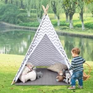 COSTWAY Kinderspielzelt, Spielzelt fuer Kinder, Indianerzelt tragbar, Kinderzelt Stoffzelt Spielhaus Zelt 120x120x160cm