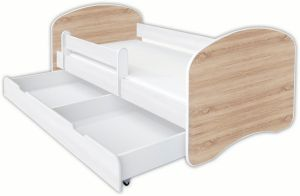 Clamaro 'Schlummerland Dekor' Kinderbett 80x180 cm, Design 18, inkl. Lattenrost, Matratze, Rausfallschutz und Schublade
