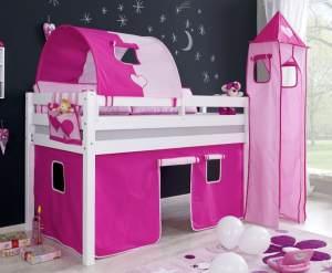 Relita 'Alex' Halbhochbett weiß, inkl. Matratze und großes Stoffset 'Pink/Rosa'