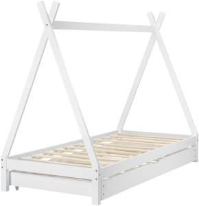 [en. casa] Tipibett Weiß 90x200 cm, inkl. Lattenrost, Matratze und Ausziehbett