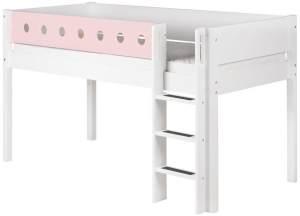 Flexa 'White' Halbhochbett weiß/rosa, gerade Leiter, 90x200cm