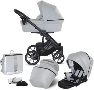 Knorr Baby 'SAIPAN' Kombikinderwagen 2 in 1 Silber Grau inkl. Sitz, Babywanne, Wickeltasche und Wetterschutz
