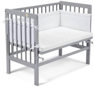 FabiMax 'Basic' Beistellbett grau, inkl. Matratze 'Comfort' und Nestchen 'Amelie' weiß