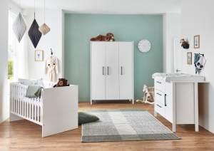 Arthur Berndt 'Kiara' Babyzimmer Komplettset 3-teilig, Kinderbett (70 x 140 cm), Wickelkommode mit Wickelaufsatz und Kleiderschrank Weiß