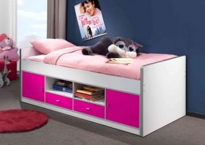 Bonny Kojenbett Jugendbett Bettgestell Kinderbett Bett 90 x 200 cm Weiß / Lila Basic, ohne