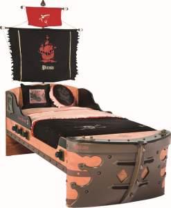 Cilek PIRATE S Bett Kinderbett Piratenbett Schiff Braun 90x190 cm mit