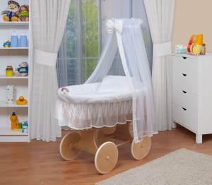 WALDIN Stubenwagen-Set mit Ausstattung Gestell/Räder natur, Ausstattung weiß/weiß
