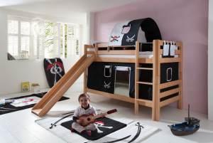 Etagenbett BENI mit Rutsche und Textilset Vorhang, 1-er Tunnel und Tasche