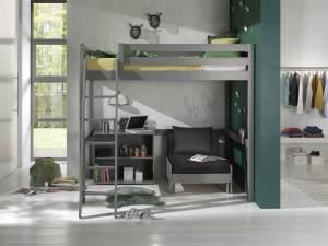 Vipack Hochbett 140 x 200 cm inkl. Sesselbett und Regal mit zwei Fächern, grau