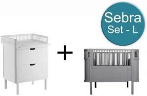 Sebra Baby & Juniorbett mit Kommode Set-L Classic Grey Weiss