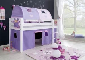 Relita Halbhochbett Spielbett ALEX-13 Buche massiv weiß lackiert mit Stoffset Vorhang, 2-er Tunnel & Tasche puprle/rosa/Herz