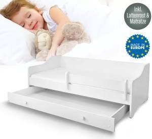 ALCUBE 'Maxi' Kinderbett 80x160 cm, weiß mit Matratze, Lattenrost und Bettkasten