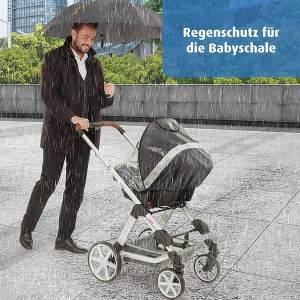reer DesignLine RainSafe Regenschutz für Babyschale, gute Luftzirkulation, mit Reflektor-Elementen und Aufbewahrungstasche, Regenschutz für Babyschale - DesignLine