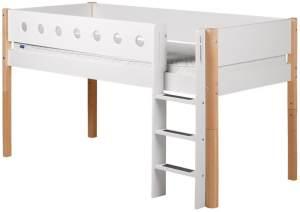 Flexa 'White' Halbhochbett weiß/natur, gerade Leiter, 90x190cm