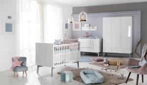 Roba 'Retro 2' 3-tlg. Babyzimmerset, weiß, aus Kombi-Kinderbett 70x140 cm, Wickelkommode und 3-trg. Kleiderschrank