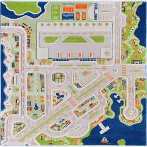 """3D Spielteppich und Kinderteppich Stadt """"Mini City"""" mit Hafen, Flughafen und Strand, 200 x 200 cm"""