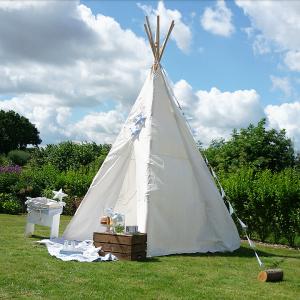 Indianerzelt Tipi groß, Kinderspielzelt aus Baumwolle, wasserabweisender Stoff, 325cm hoch, von Eduplay