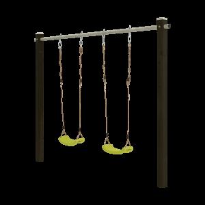 Premium Kinder Schaukelgestell aus Holz mit Stahlrohrstange 2 Pfosten Schaukel inkl. 2 Schaukelsitze grün