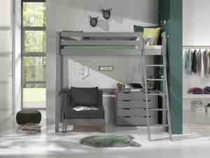 Vipack Hochbett grau, 90 x 200 cm inkl. Sesselbett und Schubladen Kommode