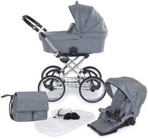 knorr-baby 'Toledo' Kombikinderwagen 2 in 1 Hellgrau inkl. Sitz, Wanne und Wickeltasche